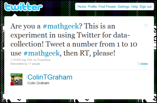 Tweet sent out to start #mathgeek